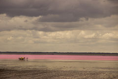 Salt Lake pink in the desert and cloudy sky Royalty Free Stock Photos