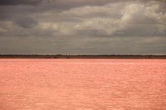 Salt Lake pink in the desert and cloudy sky Stock Photo