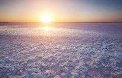 Salt lake with pink salt in the foreground at sunset. Salt lake with crystals of pink salt in the foreground at sunset Royalty Free Stock Images