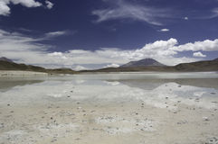 Salt Lake Reflection, Laguna Hedionda. Laguna Hedionda on the bolivean Altiplano stock images