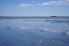 Salt lake, salt, Lake Baskunchak in Russia, royalty free stock photos