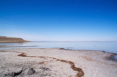 Salt Lake and salty field Stock Photos