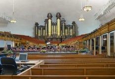 The Salt Lake Tabernacle pipe organs. Salt Lake City, UT, USA - May 13, 2008: Interior of the Salt Lake Tabernacle with one of the largest pipe organs in the Royalty Free Stock Photography