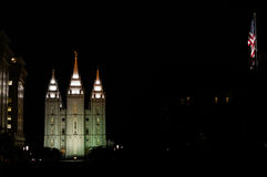 Salt Lake tempel vid natt Royaltyfri Fotografi