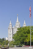 The Salt Lake Temple. And the American flag Royalty Free Stock Images