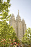 Salt Lake Temple. The Salt Lake Temple is located in Salt Lake City Utah and took ~40 years to build (from 1853 to 1893) and remains one of the most most visited Stock Photo