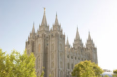 Salt Lake Temple. The Salt Lake Temple is located in Salt Lake City Utah and took ~40 years to build from 1853 to 1893 and remains one of the most most visited Stock Photography