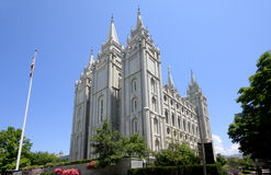 Salt Lake Temple of the Mormons in Utah. This is the religious center of the Church of Latter Day Saints royalty free stock image