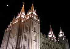 Salt Lake Temple (night). The Salt Lake Temple on Temple Square, downtown Salt Lake City, Utah.  Built by the settlers, almost all Mormons (Church of Jesus Royalty Free Stock Photography