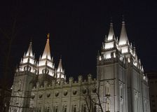 Salt Lake Temple from Northwest at Night. The Salt Lake City, Utah LDS (Mormon) temple taken at night Stock Photography