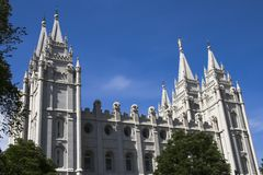 Salt Lake Temple South Side. Salt Lake City Utah Mormon Church of Jesus Christ of Latter-day Saints temple Royalty Free Stock Images