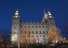 Salt Lake Temple South Side Christmas Lights. The Salt Lake City, Utah LDS (Mormon) temple taken after sunset with Christmas lights Royalty Free Stock Image