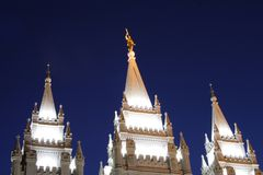 Salt Lake Temple Spires at Night Stock Image