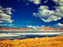 Salt lake Tso Kar in Himalayas. Ladakh, India Royalty Free Stock Images