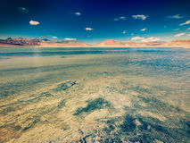 Salt lake Tso Kar in Himalayas. Ladakh, India Royalty Free Stock Photography