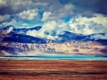 Salt lake Tso Kar in Himalayas. Ladakh, India Royalty Free Stock Image