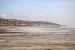Salt Lake Tuz Golu. The shore of the salt lake Tuz Golu at sunny day Stock Photo