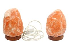 Salt lamp over white Royalty Free Stock Images