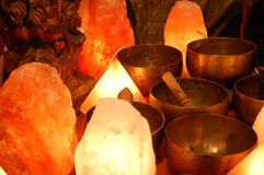 Salt lamp. And singing bowl Royalty Free Stock Photos
