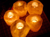 Salt lamps 3. Warm light of salt lamps at night royalty free stock photography