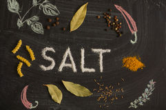 SALT letters, spices and herbs on a blackboard Stock Photo