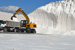 Salt Loaded Into Lorry - Plant Machinery Industrial JCB CAT Royalty Free Stock Photography