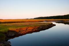 Salt marsh. The Scarborough salt marsh at low tide Stock Image