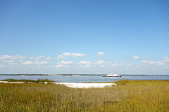 Salt marsh, North Carolina. This is a typical North Carolina seascape, with salt marshes made up of smooth cordgrass (Spartina alterniflora). This type of grass Royalty Free Stock Images