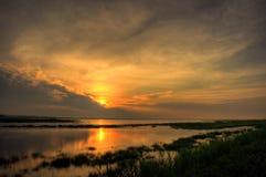 Salt Marsh Sunrise. At Bombay Hook Wildlife Refuge Stock Photos