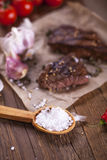 Salt and meat Royalty Free Stock Images
