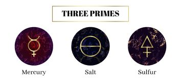 Salt, mercury, sulfur. Set of Alchemical symbols. The three primes or tria prima of which material substances are immediately composed. Sacred geometry on vector illustration