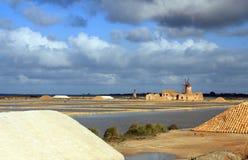 Salt and mill. Salt flats and old windmill Stock Photos