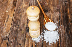 Salt mill and cooking salt spice on wooden background Stock Photography