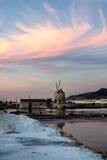 Salt Mill at Marsala, Sicily Stock Photo