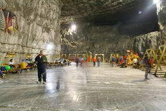 Salt mine. Due to the extensive salt mining there have been left large underground halls, where a unique salt-mine microclimate has been created, with relatively Royalty Free Stock Images
