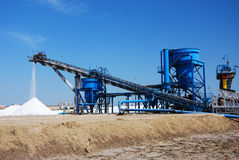 Salt mine -area production of salt in Spain. Salt mines and machinery, marshes of the Odiel, Spain Stock Image