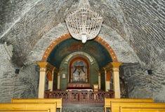 Salt Mine Chapel. The altar of catholic chapel situated deep underground inside salt mine & x28;Poland& x29 Royalty Free Stock Photos
