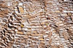 Salt mine. Of Maras near the city of Cusco in Peru royalty free stock image