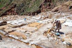 Salt mine. Of Maras near the city of Cusco in Peru stock photography