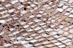 Salt mine. Of Maras near the city of Cusco in Peru stock photo