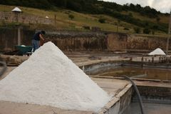 Salt miner. A worker from a tradicional mine located in Rio Maior - Portugal Royalty Free Stock Image