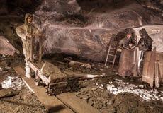 Salt miners figurines in Wieliczka Salt Mine Stock Images