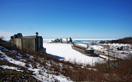Salt Mines. A winter view of the Salt Mines in Goderich, Ontario Stock Photos