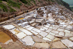 Salt mines Salinas de Maras, Cusco, Peru Royalty Free Stock Photos