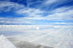 Salt mining. Piles of salt being mined on the Bolivian saltflats stock image