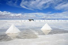 Salt mining. Piles of salt being mined on the Bolivian saltflats royalty free stock photo