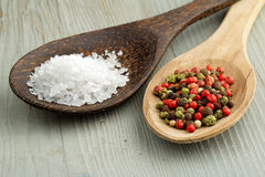 Salt and mix of peppercorns Royalty Free Stock Photography