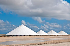 Salt mountains. Extraction of salt on the island of Bonaire, Dutch Antilles, Caribbean Royalty Free Stock Photography