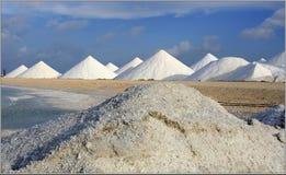 Salt mountains. Manufacture bonaire caribean sea Royalty Free Stock Photos