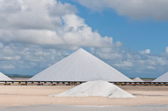 Salt mountains in Bonaire. Netherlands Antilles stock photo